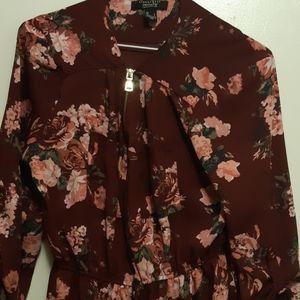 Floral half zip dress